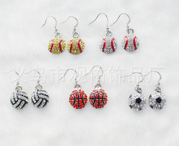 Hot Selling European Sport earrings Fashion Full Rhinestone Basketball Volleyball Rugby Softball Baseball football Long Earrings 11 color