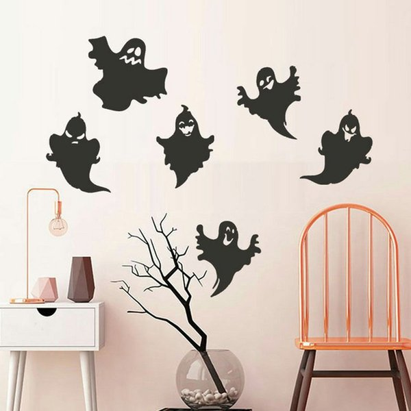 Removable Vinyl 3D Wall Stickers Halloween Ghost Black Cats Bat Decor Decals For Walls Halloween Home Decoration