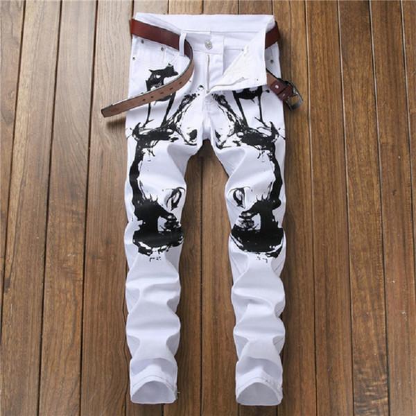 Hommes Vêtements Design Jeans Homme Slim Stretch Droite Pantalon En Denim Blanc Jeans Hommes Déchiré Élastique Maigre Hommes Moto