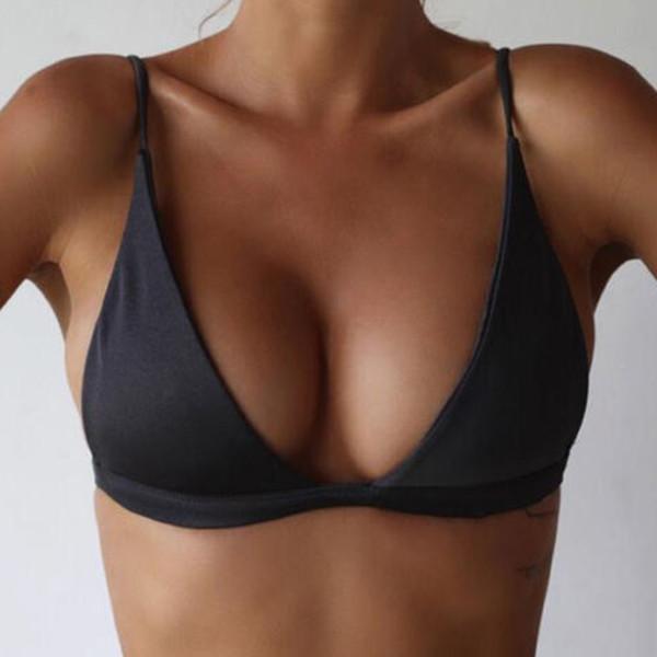Women Push Up Bikini Top Brazilian Solid Swimwear Halter Sexy Pad Swim Bra Beachwear Sport Tops Maillot De Bain