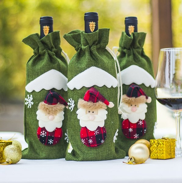 Christmas Decorations Christmas Wine Bottle Cover Bags Dustproof Wine Bottle Packaging Champagne Pouches Christmas Gift Bags 3 Colors YW1587