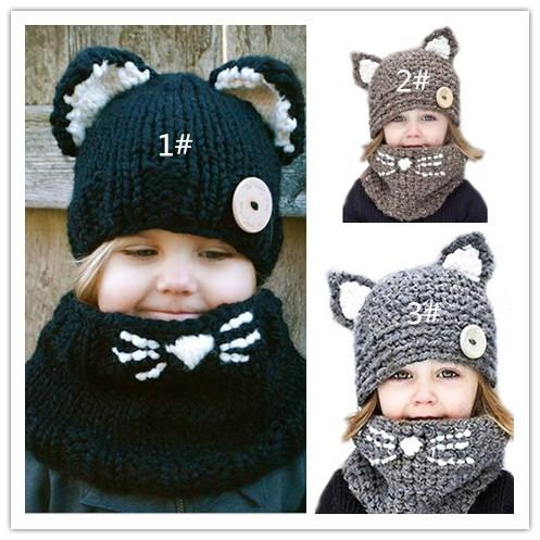 quality new fox handmade children\'s cat wool hat scarf dual-use, children\'s winter warm knitted hat wholesale