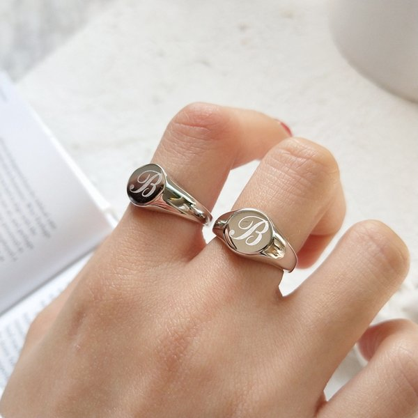 New 925 sterling silver fancy english letters B rings simple trendy design cute romantic personality rings for women jewelry