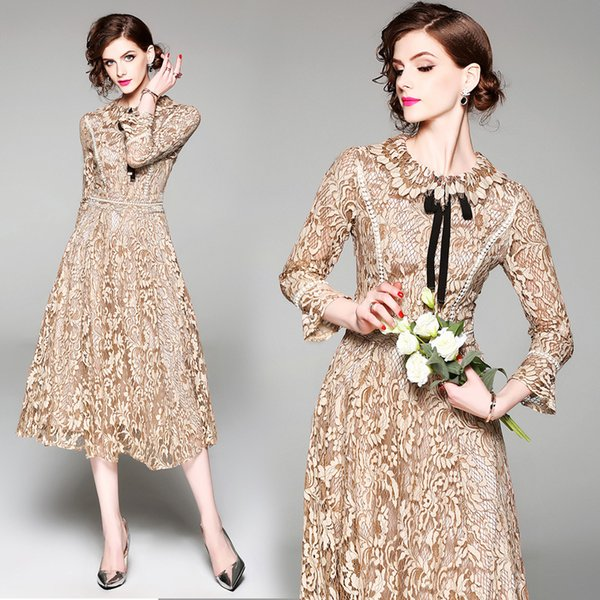 Evening Gown Dress Embroidery High End Long Sleeve Women Lace Dresses for Party Prom Dresses Vintage