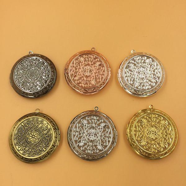 40 * 10 MM FAI DA TE Argento / bronzo antico / oro rosa / nero pistola rotonda fiore foto locket gioielli charms, rame metallo cornice ciondoli scatola dei desideri