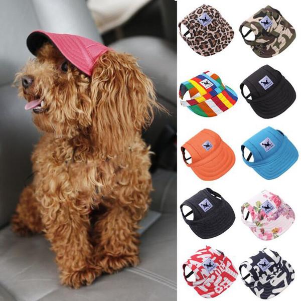 Haustier-Hundekappe-kleiner Hundebaseball-Visier-Hut mit Ohr-Loch-Welpen Sunbonnet-Kappen-Sommer-Hündchen Headwear 12 entwirft freies Verschiffen YW898