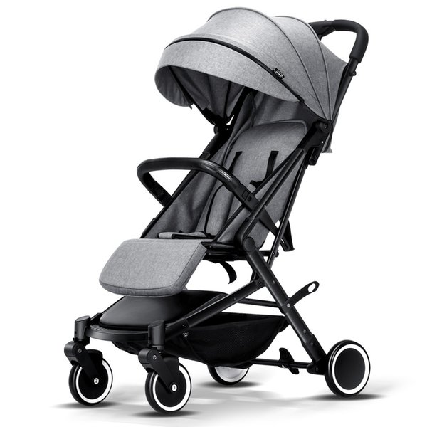 Pitman Style Trolley Baby Strollers Linen Fabric Hood One Hand Taken Baby Cars