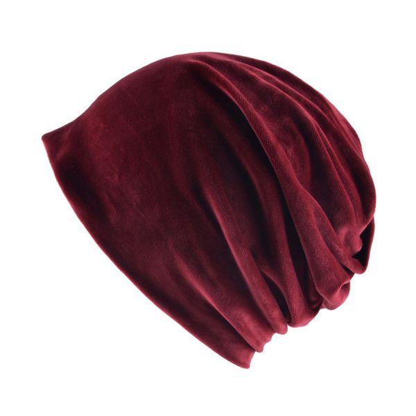 Bufanda de las mujeres Beanie Invierno Otoño Gorro de Punto Gorro de Terciopelo de Color Sólido A Prueba de Viento Cuello Cálido Skullies Sombreros de Moda