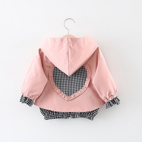 Everweekend Enfants Filles Amour Patchwork Ruffles Veste Outwears Candy Rose Jaune Rouge Couleur Printemps Automne Mode Outwears