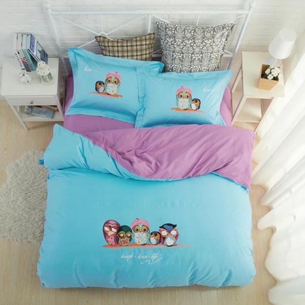 100% cotton bule white cartoon owl bedding sets queen size girls cute bed set duve cover set bed/fit sheet 4pcs