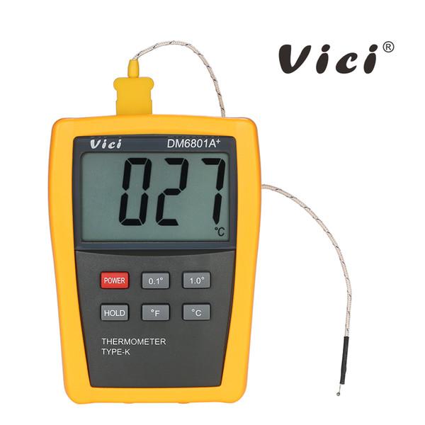 Vici Termómetro digital de alta precisión Mini LCD instrumentos de temperatura Sensor de temperatura Medidor probador + Termopar tipo K