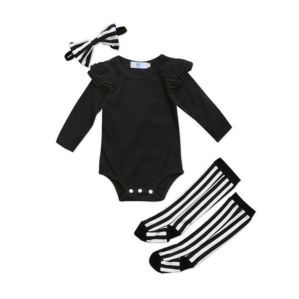 Lindo bebé recién nacido Girls Ruffle mameluco Jumpsuit calcetines polainas ropa trajes niño pequeño niña sólido informal mamelucos ropa