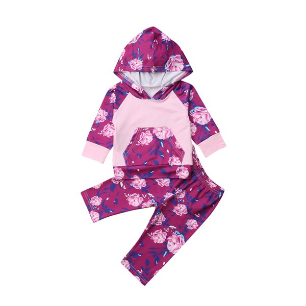 Infant Baby Girl Floral Hoodie Outfit Clothes Set Tracksuit Hooded Pocket Top Floral Pants Cotton Baby Girl Set 0-2.5T