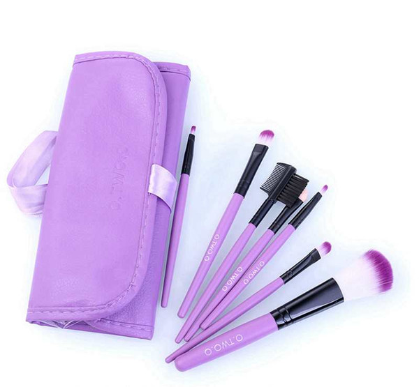O.TWO.O Set de pinceles de maquillaje 7pcs / lot Suave Pelo Sintético Blush Eyeshadow Lips Make Up Brush con estuche de cuero para el cepillo principiante