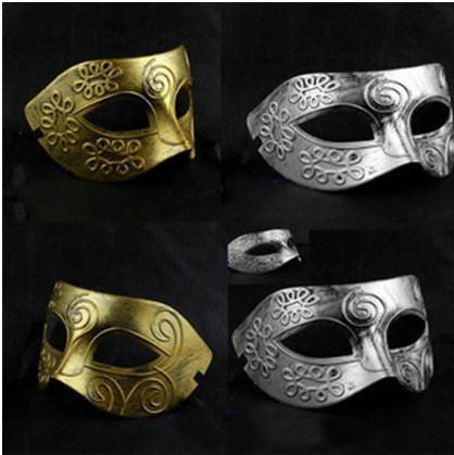 Men's Vintage Greek Roman Gladiator Makeup Prince Ball Mask Gold and Silver Two-color Wholesale