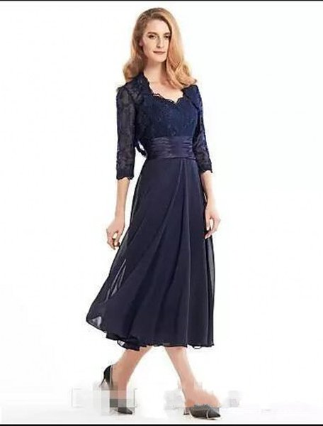 Prom Dresses 2018 Tea-Length Mother Of The Bride Groom Dress With Jacket Long Sleeves Navy Blue Lace Plus Size Women Party Evening Formal