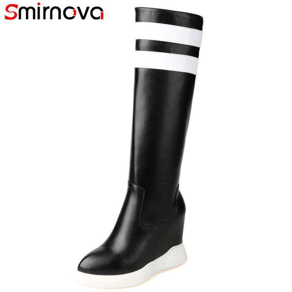 Smirnova HOT 2018 Mode aus echtem Leder Kniehohe Stiefel runde Zehe Keile feste Stiefel Winter Frauen schwarz rot