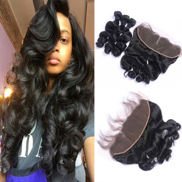 Loose Wave Hair Natural Color 3Pcs Hair Weaves With Top Lace Frontal Brazilian Remy Hair Extensions Free Shipping