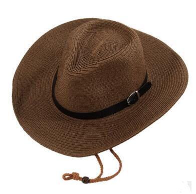 Straw Braid Men Cowboy Hats with Buckle Western American Mens Hat Lady Beach Hats Solid Khaki 5 Colors