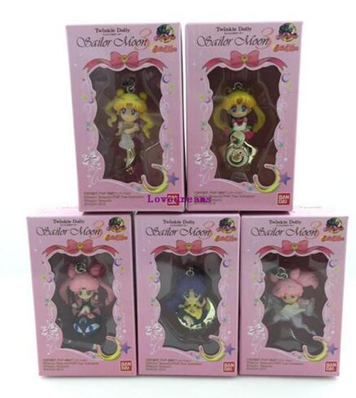 5pcs/set Twinkle Dolly Sailor Moon Keychain Cute Version Action Figure Pendant Japanese Anime Phone Keychain Toys Gifts