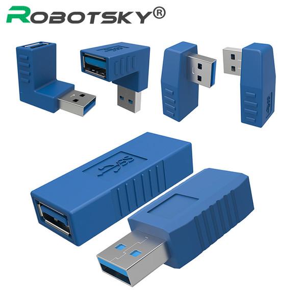 Convertitore con connettore per adattatore M / F femmina da USB a maschio a femmina da 90 gradi a 90 ° verticale sinistra destra