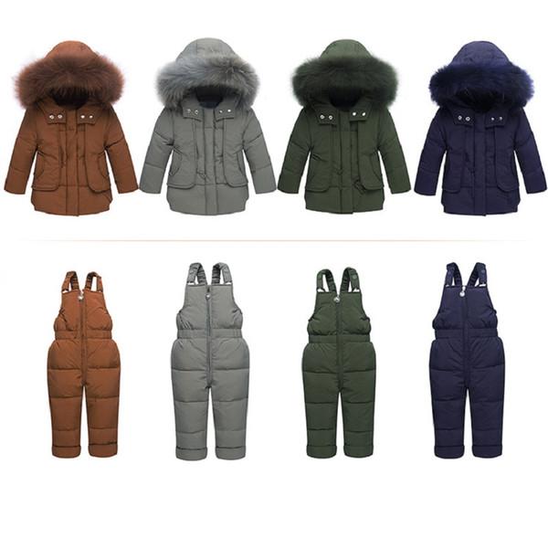 Ragazzi Inverno Snowsuit Fur Winter Girl Suit Anatra Giù Bambini Ragazzi Set di abbigliamento Caldo Toddler Down Parka Jacket Coat Snow Wear