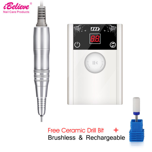 iBelieve 80w 40000R Brushless Electric Nail Drill Machine Acrylic gel remover Nail File Drill Bits Ceramic Art Equipment