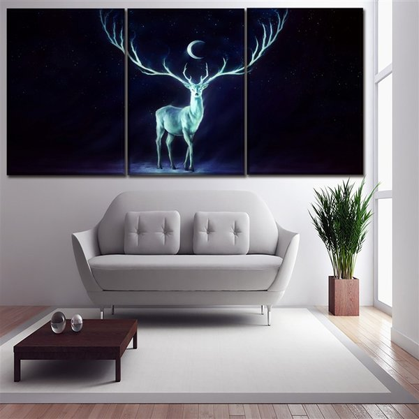 Painting Modular Canvas Home Decorative Framework 3 Panel Night Moon Animal Deer Horns Poster Popular Modern Artwork HD Printed