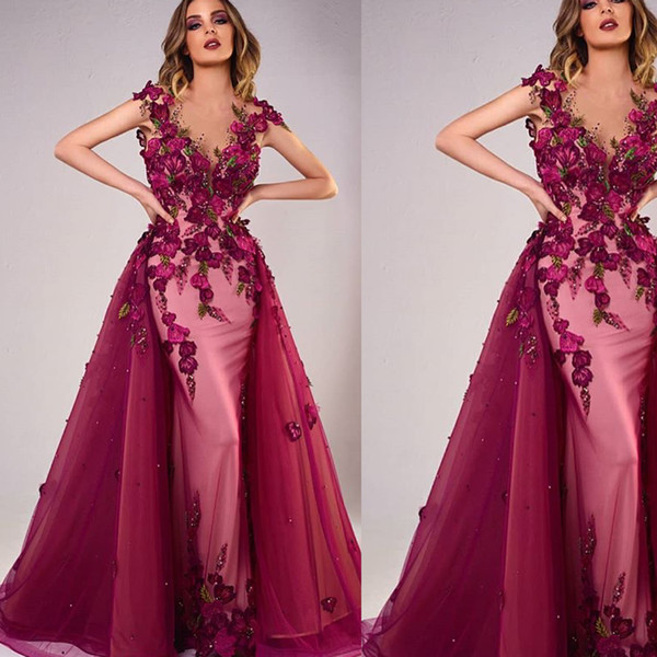 Prom Dresses 2018 Red Detachable Train Hand Made Flowers Cap Sleeve Mermaid Crystal A Line Evening Dresses Gowns Discount