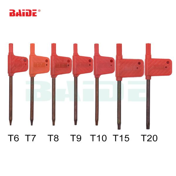 top popular T6 T7 T8 T9 T10 T15 T20 Torx Screwdriver Spanner Key Small Red Flag Screw Drivers Tools 200pcs lot 2021