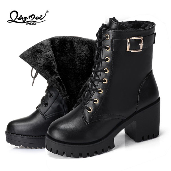 2019 QINGMEI 2018 women boots fashion ladies winter plush warm womens winter waterproof lace up platform snow Mid-Calf boots