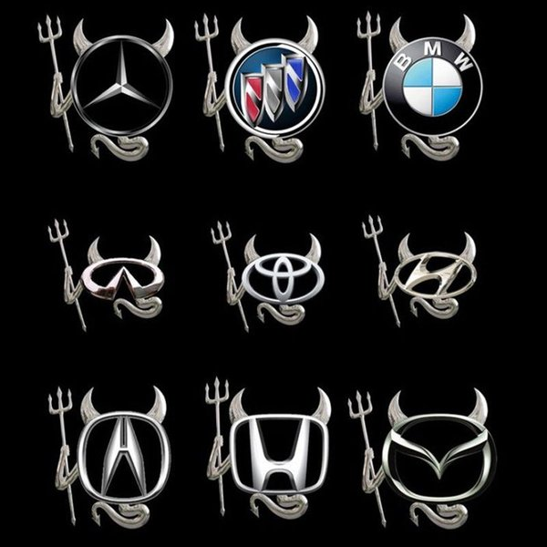 2018 Hot Funny Silver Logo 3D Devil Style Demon Sticker Decal Car Badge Emblem Paper DHL Free Shipping