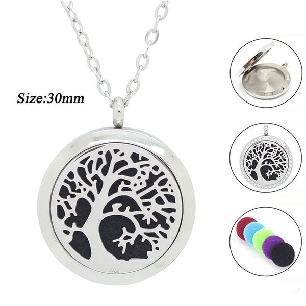 ashion Jewelry Pendants 316L Stainless Steel 30mm tree of life Aromatherapy Necklace 30MM Essential Oil Diffuser Necklace Silver Magnetic...