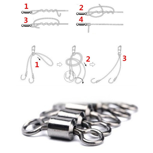 Style 8 Word Ring Ball Bearing Swivels With Split Rings Carp Connector Fishing Goods Strong Pulling Force Fishing accessories T1I444