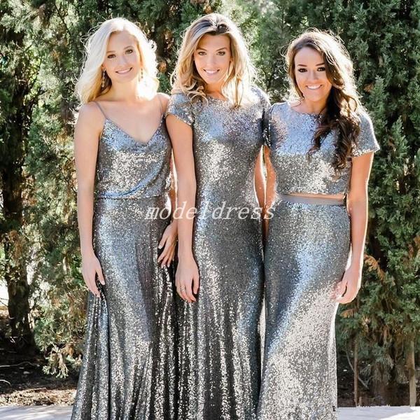 Silver Mermaid Sequined Bridesmaid Dresses Floor Length Country Garden Wedding Guest Gowns Maid Of Honor Dress vestidos de dama de honor
