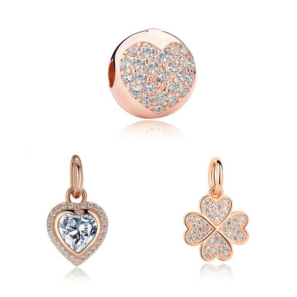 Authentic 925 Sterling Silver Bead Family Rose Gold Pendant Charm Fit Original Pandora Bracelet DIY Jewelry