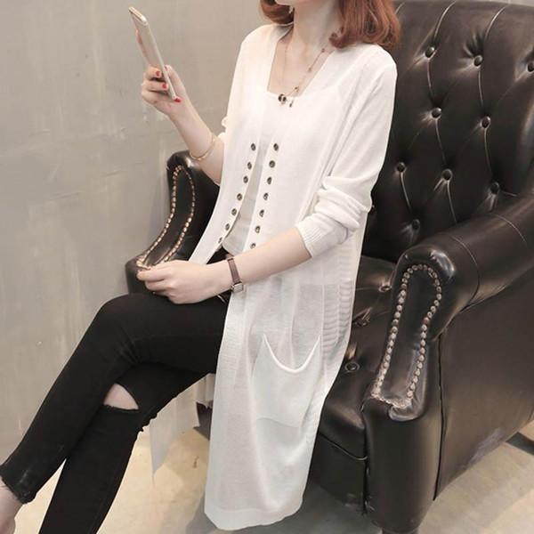 Compre Neploe Mujer Cardigan Largo Suéter De La Manera Coreana Capa ...