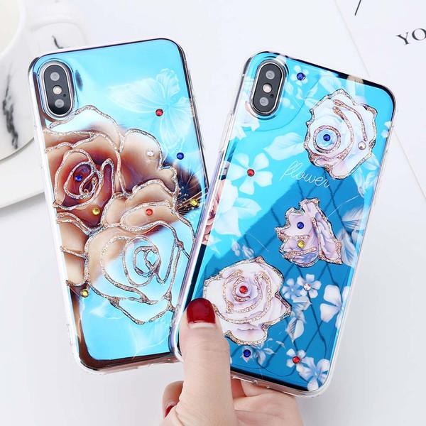 YunRT Glitter Diamanten Telefon Fall für iPhone X Blu-ray Gradient Fällen für iPhone 6 6 s 7 8 Plus Lotus Flamingo Flower Soft Cover