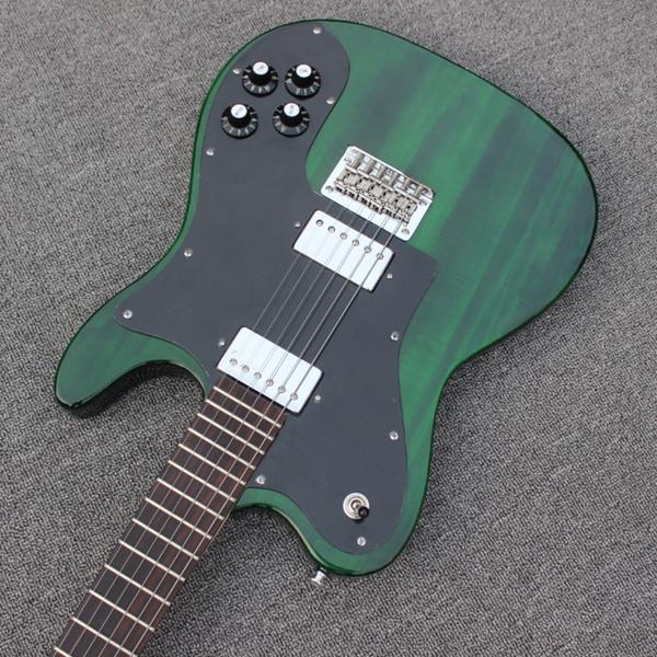 Custom Shop 72 Telecaster Deluxe ligne mince Tele Vert foncé Guitare électrique Humbucker Micros, pickguard noir, cordes Thru Pont du corps