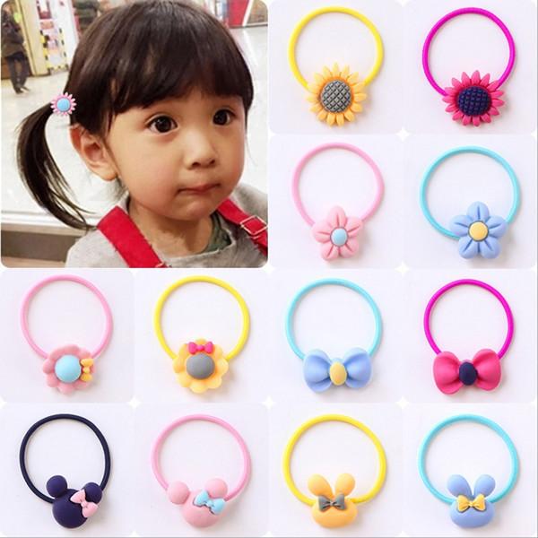 Mode kinder elastische haarbänder stirnbänder weiches gewebe cartoon mädchen haarband kinder haarschmuck gummiband