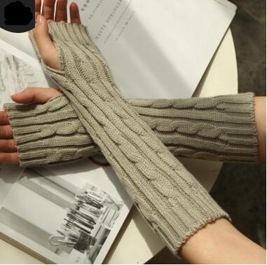 Winter Women Warm Knitted Plaid gauntlet Long Gloves Half Finger Gloves Hand Wrist Fingerless Gloves Warm Cuff Arm Sleeves 7colors