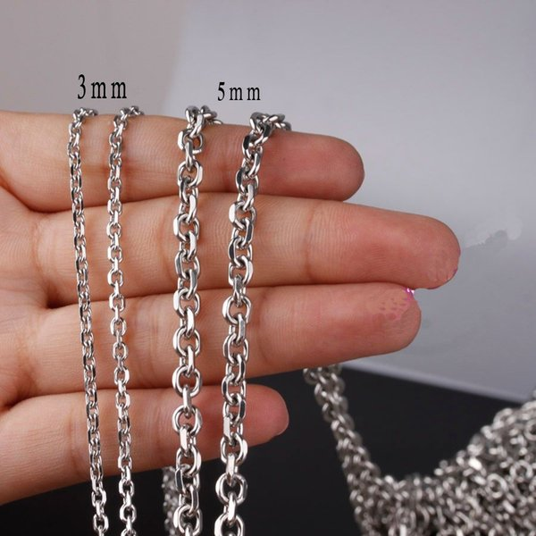 High Quality 5 or 10 Meter/Lot 2/3/4/5mm Fashion DIY Jewelry 316L Stainless Steel Silver Cross Chain Mens Womens Necklace