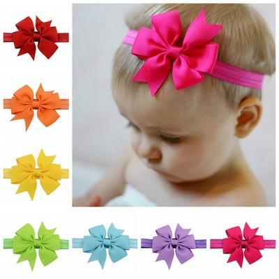 20pcs hair Bow Headband DIY Grosgrain Ribbon Bow Elastic Hair Bands Tie For Newborn kids Hair Accessories FD567
