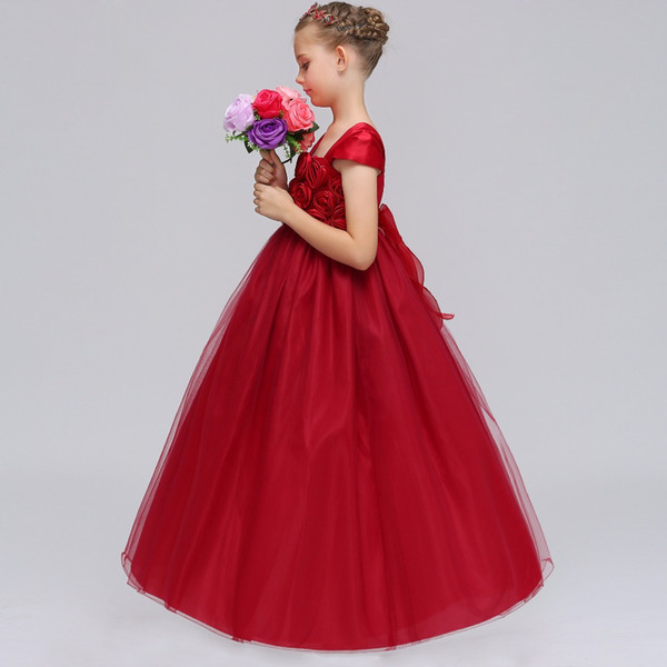 Cheap Pink Flower Girls' Dresses For Wedding Lace Applique Ruffles Kids Formal Wear Sleeveless Long Beach Girl's christmas Pageant Gowns
