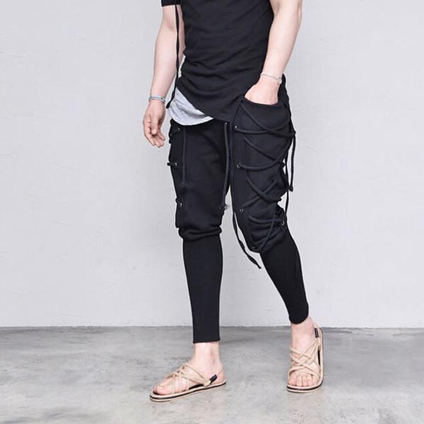 Moda Erkek Hip Hop Bandaj Pantolon Düz Renk Harem Pantolon erkek Pantolon Slim Fit Elastik Sokak Aşınma Kalem