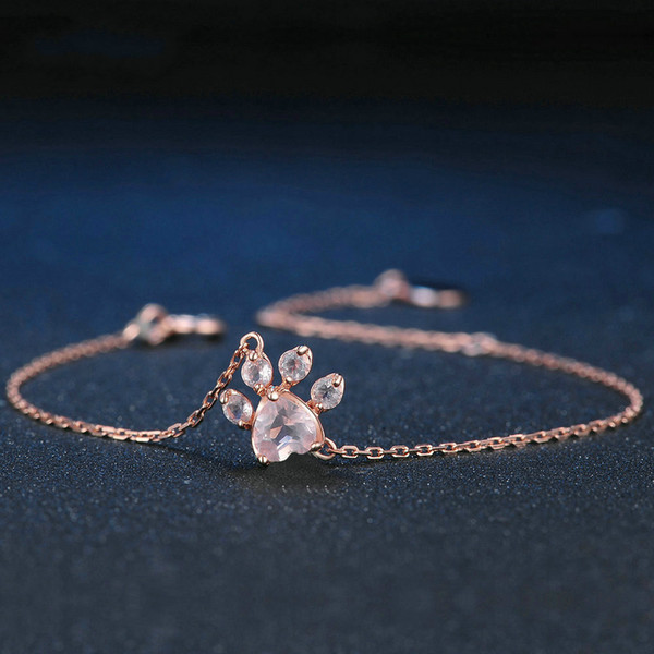Paw 100 %Natural Heart Pink Quartz 925 Sterling Silver Jewelry Rose Gold Chain Charm Bracelet Valentine &#039 ;S Day Gift