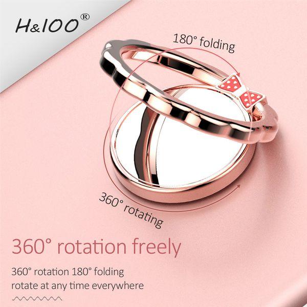 Original H&lOO mirror Ring Bracket Finger Grip Phone Desktop Holder Safe and Firm Built-in Iron Sheet for Most Mobile Phones