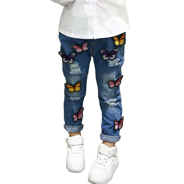Children Girls Denim Jeans Butterfly Pattern Baby Kids Cartoon Hole Pants For 3-7Y Children Girls Cute Shipping From US\China