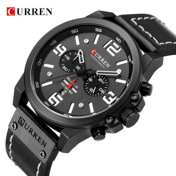 Men Military Sport Quartz Wrist Watch CURREN Casual Genuine Leather Waterproof Chronograph Watch Male Business Watch Clock
