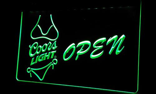 Ls250-g Coors Light Bikini Beer OPEN Bar Neon Light Sign Decor Free Shipping Dropshipping Wholesale 6 colors to choose